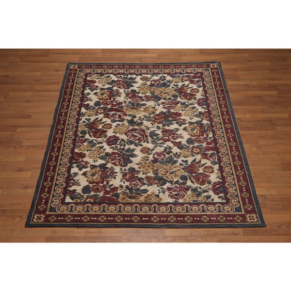 """Chenille Country Roses Italian Handmade Area Rug - Tan/Beige - 5'8"""" x 7'8"""" - 5'8"""" x 7'8"""". Opens flyout."""