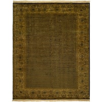 Agra Black/Sand Wool Hand-knotted Area Rug (6' x 9')