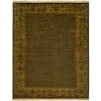 Agra Black/Sand Wool Hand-knotted Area Rug - 8' x 10'
