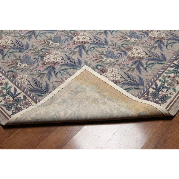 Contemporary Floral Grey/Taupe/Brown Wool Hand-hooked Oriental Area Rug (8' x 10') - multi