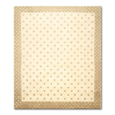 Tibetan Ivory/ Brown Wool Oriental Area Rug - Beige/Greyish Brown - 8' x 10'