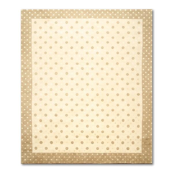 Tibetan Ivory/ Brown Wool Oriental Area Rug - 8' x 10'