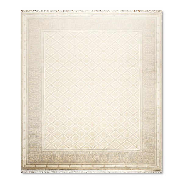 Pure Wool Endless Knot Tibetan Oriental Area Rug (8'x10') - multi