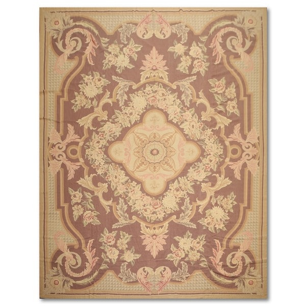 French Country Thin Pile Aubusson Savonnerie Wool Hand Woven Area Rug 8 X27