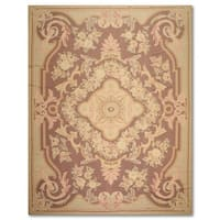 French Country Thin Pile Aubusson Savonnerie Wool Hand-woven Area Rug - 8'4 x 11'7