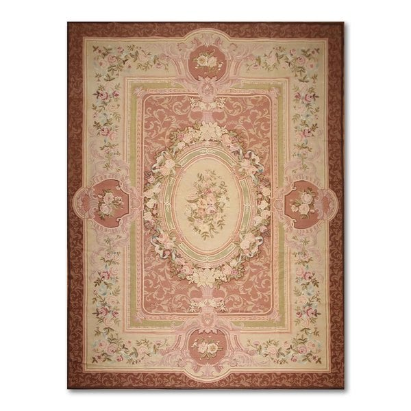 Ornamental French Aubusson Multicolor Wool Needlepoint Area Rug (9' x 12') - multi
