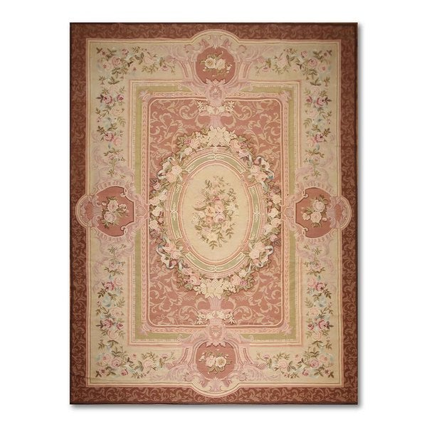 Ornamental French Aubusson Multicolor Wool Needlepoint Area Rug - 9' x 12'