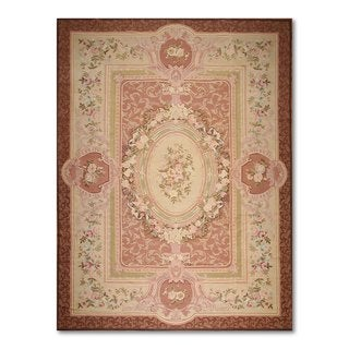 Ornamental French Aubusson Multicolor Wool Needlepoint Area Rug (9' x 12')