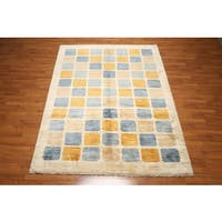 Modern Contemporary Glam Gabbeh Persian Oriental Hand-knotted Multicolored Wool Indoor Rectangular Area Rug (6' x 9')