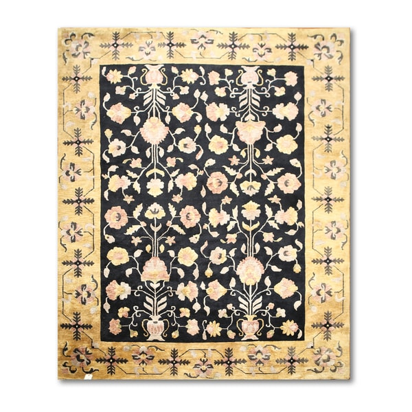 Craftsman Ornamental Tibetan Black/Gold Wool Oriental Area Rug - multi