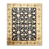 Craftsman Ornamental Tibetan Black/Gold Wool Oriental Area Rug - 8'3 x 11'6