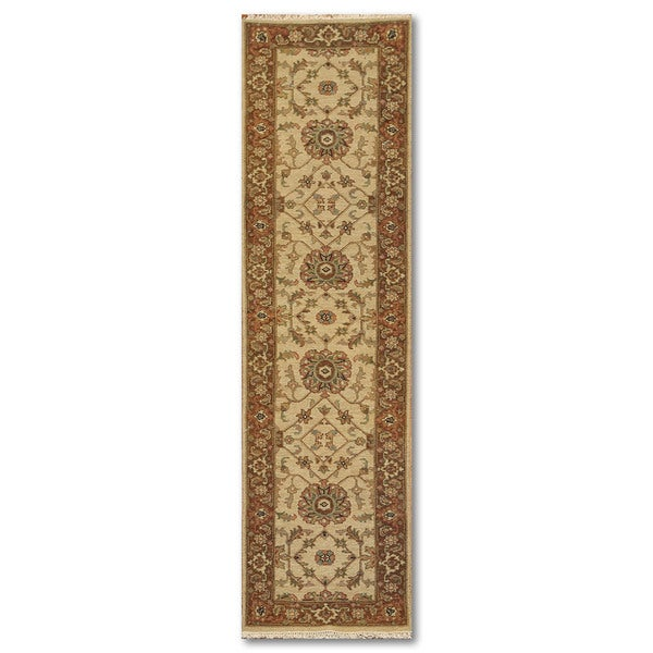 Traditional Persian Beige/Rust Wool Oriental Area Runner Rug (2' 6 x 10')