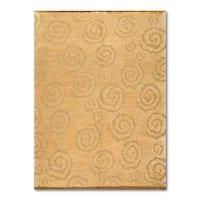 Authentic Tufenkian Beige Wool Modern New Swirls Design Tibetan Area Rug (6'x9')