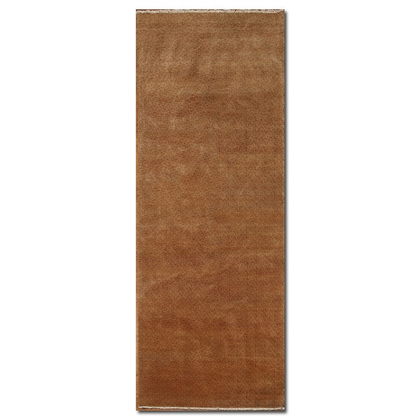 Modern Industrial Boho Gold/Rust Wool Hand-knotted Area Runner Rug (3'x12')