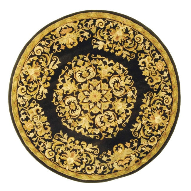 Safavieh Handmade Heritage Timeless Traditional Black Wool Rug (6' Round)