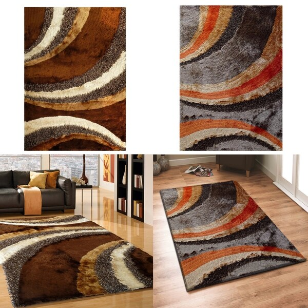 Shop Geometric Design Shag Area Rugs With Hand Tufted