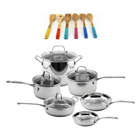 EarthChef Stainless Steel Cookware & Utensil Set 16 Pc