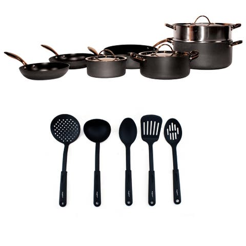 Ouro Black Hard Anodized Cookware Set 15pc