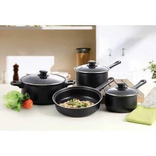 Professional Quality 7 Pcs Nonstick Carbon Steel Cookware Set Black
