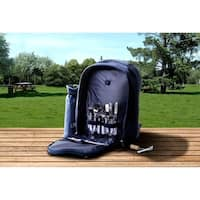 Insulated Picnic Basket Set Backpack Cooler w/ 2 Place Settings