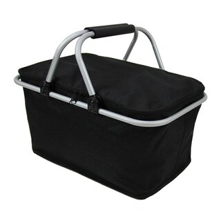 Insulated Folding Picnic Basket - Insulated Cooler Black
