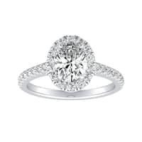 Auriya 14k Gold 3/4ct TDW Oval-cut Diamond Halo Engagement Ring - White I-J