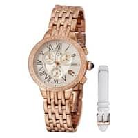 GV2 Women's Swiss Quartz Diamond Rose tone Bracelet Watch Set - Gold