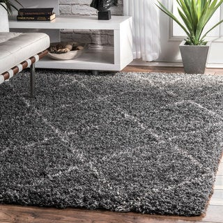 nuLOOM Soft and Plush Modern Diamond Trellis Moroccan Lattice Shag Grey Rug (4' x 6')