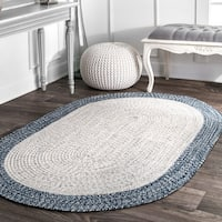 nuLoom Contemporary Solid Border Hand-braided Ivory/Blue Synthetic Fiber Indoor/Outdoor Oval Rug (5' x 8')