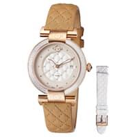 GV2 Women's Swiss Quartz Diamond Tan Leather Strap Watch Set