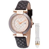 GV2 Women's Swiss Quartz Diamond Black Leather Strap Watch Set - Gold