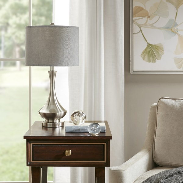 Madison Park Sloane Silver Table Lamp with Grey Drum Shade