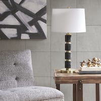 INK+IVY Mrytle Black/ Gold Table Lamp with Tapered Drum Shade