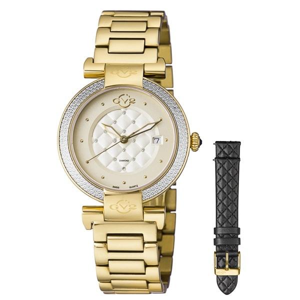 GV2 Women's Swiss Quartz Diamond Gold tone Bracelet Watch Set