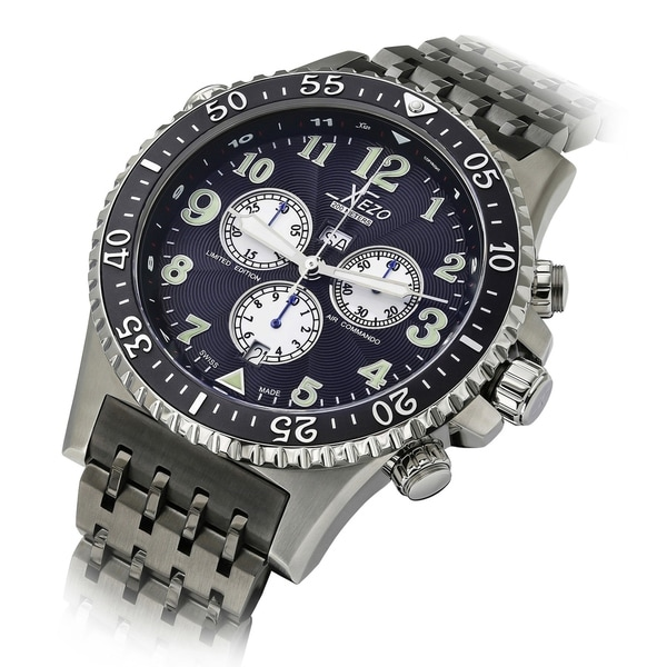 Xezo Air Commando Mens Swiss Made Serialized Pilots Chronograph Watch, 20 ATM, 2nd Time Zone. Day, date - Blue. Opens flyout.