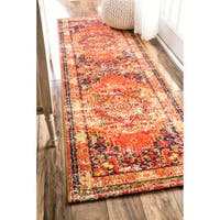 The Curated Nomad Marcela Floral Traditional Orange Runner Rug - 2'6 x 12'