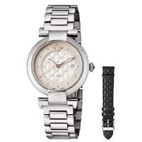 GV2 Women's Swiss Quartz Diamond Stainless steel Bracelet Watch Set - Silver