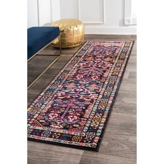 nuLOOM Southwestern Tribal Inspired Medallion Border Pink Runner Rug (2'6 x  8'