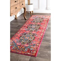 "nuLOOM Traditional Shimmering Tribal Medallion Pink Runner Rug (2'6 x 8') - 2'6"" x 8' runner"