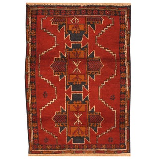 Handmade Herat Oriental Afghan Hand-knotted Tribal Balouchi Wool Rug (3' x 4'5)