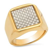 Steeltime Men's Gold Tone Stainless Steel Band Ring with Carbon Fiber Accent