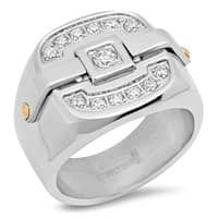 Steeltime Men's Stainless Steel Buckle Ring with Cubic Zirconia