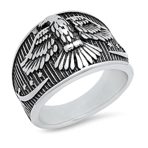 Steeltime Men's Stainless Steel Bald Eagle and Stars Patriotic Band Ring