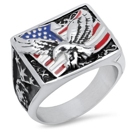 Steeltime Men's Stainless Steel USA Ring with American Flag and Eagle