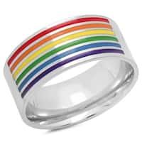 Steeltime Men's Stainless Steel Rainbow Band Ring