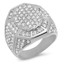 Steeltime Men's Stainless Steel Cubic Zirconia Fashion Ring in 2 Colors