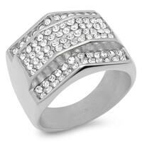 Steeltime Men's Stainless Steel Cubic Zirconia Geometric Ring in 3 Colors
