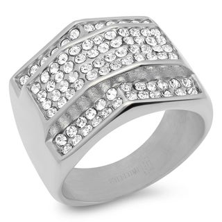 Steeltime Men's Stainless Steel Cubic Zirconia Geometric Ring in 3 Colors (More options available)