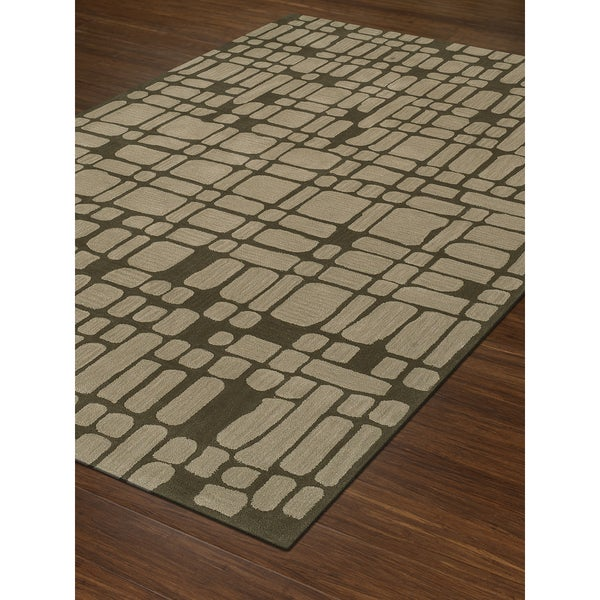 Shop Addison Rugs Taylor Collection Crosshatch Geometric Brown Cream
