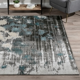 Addison Rugs Platinum Collection Horizontal Abstract Grey/Peacock/Multicolored Indoor Rectangular Area Rug (9'6 x 13'2)